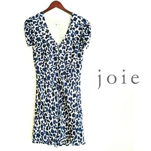 Joie Silk Leaf Print Button Front Shift Dress